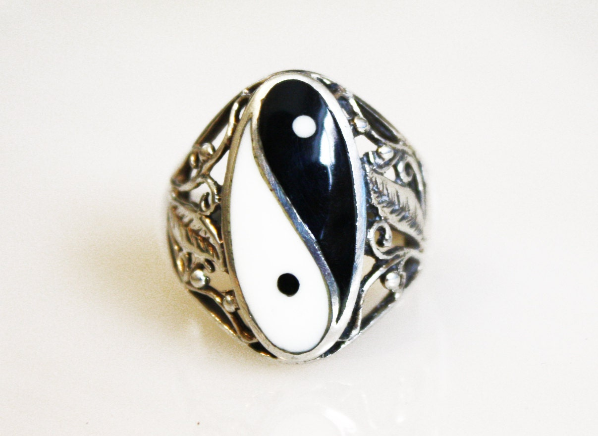 vintage yin yang filigree silver ring sterling silver size