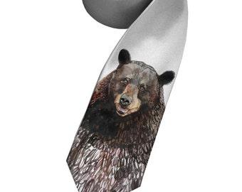 Bear tie. Print on narrow necktie