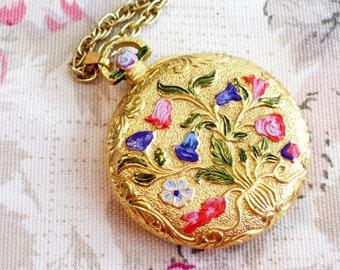 Vintage Floral Locket,  Enamel Gold Plated Floral Pocket Watch, Art Deco Style CIARA Perfume Locket Pendant Necklace, Charles Revson