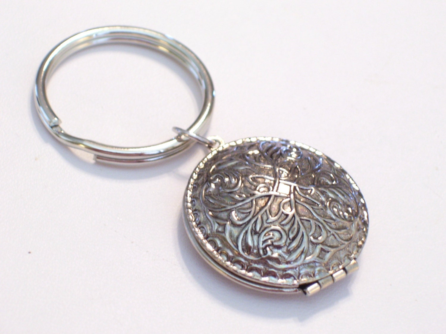 Art Deco Style Locket Key Chain Vintage Antiqued By