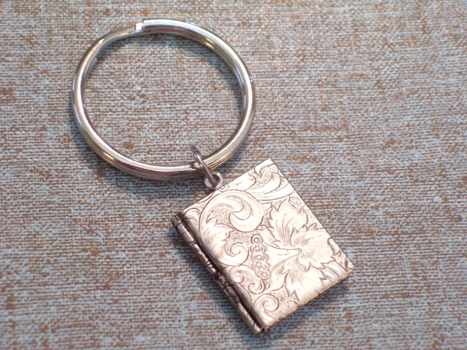 Art Deco Floral Book Locket Key Chain Embossed By Lovelockets