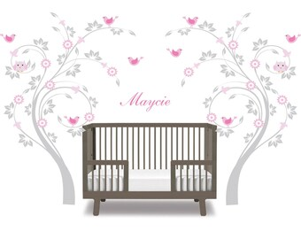 Children wall decal tree set- Vinyl tree decal- Owl tree decal- flower swirl tree- bird and name decal-