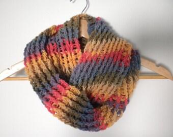 Crochet Scarf Multi Color  Infinity Scarf  Crochet Chunky Thick Neckwarmer