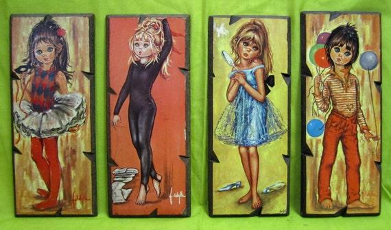 Vintage F Idylle Set Of 4 Big Eyed Children Art Rectangular
