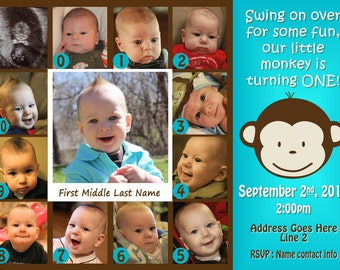 Mod Monkey Invitation Photo - Mod Monkey Invite - 1st Birthday Boy 0 - 12 months pictures invite - 1 year old (multiple options available)