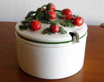 Vintage 50s Italian Art Pottery Strawberry Jam Jar Ceramic Pot