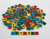 Vintage Alphabet Letter Tiles Bright Colors Red Green Blue Yellow Scrapbooking - 250