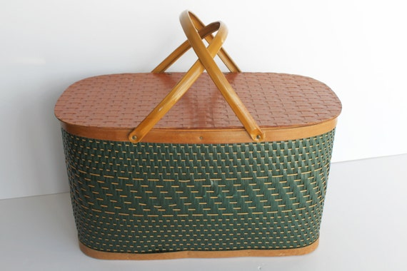 Vintage Picnic Basket Green Woven Wicker Wood Extra Large