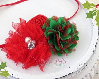 Christmas Red Green Headband. Red Rosette Headband. Holiday Headband. Baby Headband. photography Prop. Newborn Headband.