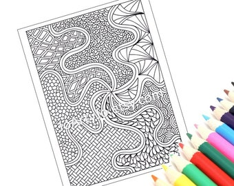 Coloring Page Printable, Zentangle Inspired, Instant Download, Zendoodle Pattern, Page 52