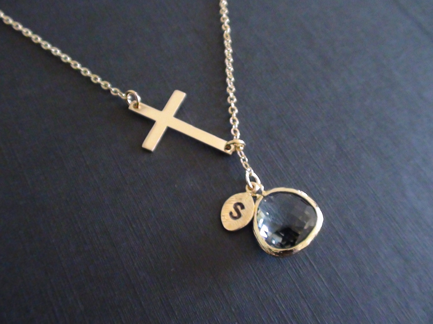 Off personalized birthstones necklace cross connector