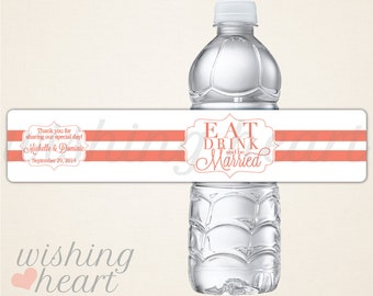Personalized Waterproof Water Bottle Labels for Wedding or Bridal Shower - Eat Drink and be Married - 100 Water Bottle Labels