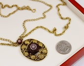 Vintage Celebrity  Moroccan Mosaic  Red  Pendant Necklace /Chain