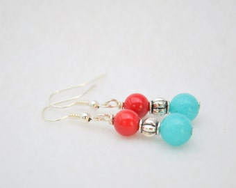CLEARANCE SALE - Red coral and turquoise stone with metal bead earrings
