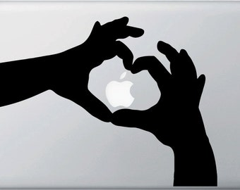 """MB - Heart Hands  - Macbook or Laptop - Vinyl Decal  (Color Variations Available) As Seen On TV - Apple """"Stickers"""" Commercial"""