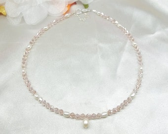 Pink Crystal Necklace White Freshwater Pearl Necklace White Pearl Necklace 925 Sterling Silver Necklace Adjustable Necklace BuyAny3+1 Free