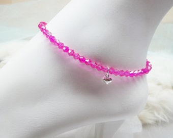 Hot Pink Anklet Crystal Anklet Fuschia Ankle Bracelet Silver Heart Anklet Fuschia Anklet 100% 925 Sterling Silver Anklet BuyAny3+Get1Free
