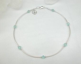Anklet Aquamarine ,Ankle Bracelet Crystal Anklet Silver Anklet Sterling Bracelet 925 Sterling Silver Blue Anklet BuyAny3+Get1 Free