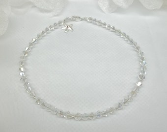 Starfish Anklet Clear AB Crystal Anklet Starfish Ankle Bracelet Silver Ankle 100% 925 Sterling Silver Anklet BuyAny3+Get1 Free