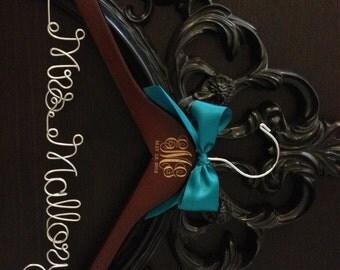 Wedding Monogram Hanger / Bride Hanger / Engraved Bridal Hanger / Monogram Wedding Hanger / Vintage Wedding / Rustic Wedding