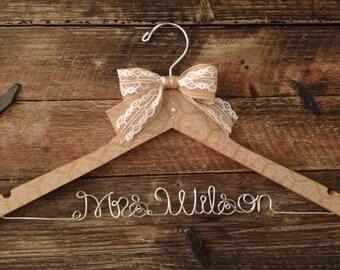 Rustic Elegance Wedding Hanger, Bridal Hanger, Bride Hanger, Rustic Hanger, Burlap Hanger, Personalized Hanger,Rustic Wedding,Wedding Hanger