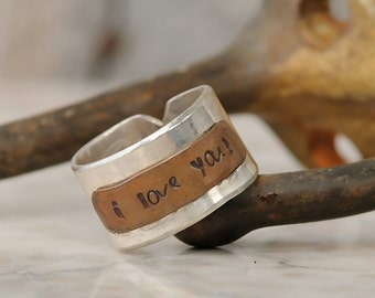 Personalized Ring – Personalized Wide Band in Sterling Silver and Copper