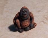 24X20mm Orangutan Ceramic Handcrafted Animal Pendant - Bead, 1 PIECE (INDOC599)