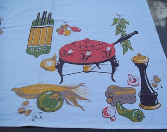 Vintage Print Tablecloth  Mid Century  Kitchen Utensils Equipment Accessories Fondue,  Spoons, Knives, Vegetables