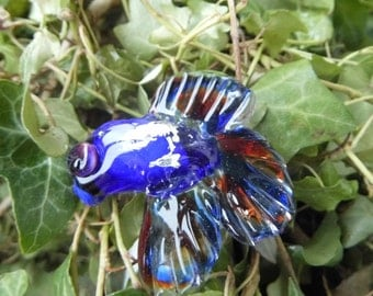 Lampwork Glass Fish - Hand Made Collectable  Bead, Siamese Fighting Fish SRAJD  fhfteam