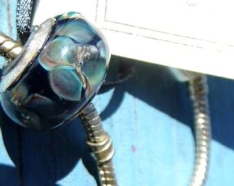 Lampwork Big Holed Bracelet or Necklace Bead, Seascape SRAJD FHFteam