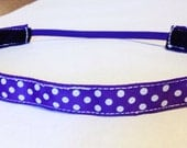 NOODLE HUGGER Non slip ribbon headband - white dots on purple - 5/8 inch (running, working out, everyday: women and girls)