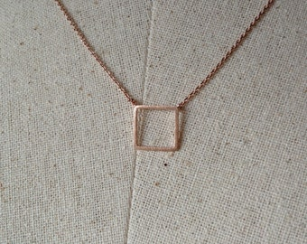 Rose Gold Square Necklace, Dainty Necklace