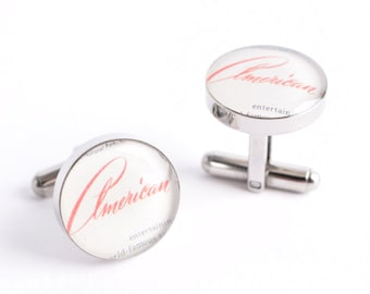 American Script Cufflinks - timeless retro inspired mens jewelry, stainless steel cuff link accessories, STYLE # AM001