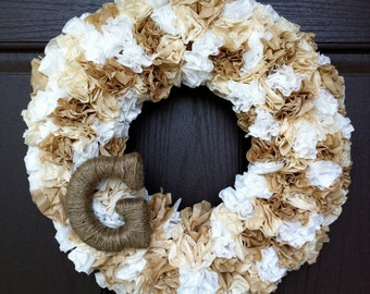 Shabby Chic Wreath with Personalized Monogram