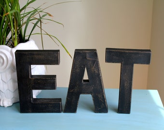 """8"""" Painted Distressed Letters.EAT letters. Kitchen decor. Typography. Letters. Painted Letters. Vintage Inspired Letters"""