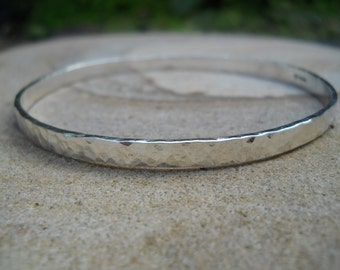 Sterling silver simple hammered bangle