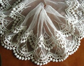off white lace trim, embroidered lace trimming with double scalloped trim