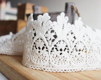off white lace trim, cotton lace, retro lace, vintage lace, scalloped lace trim
