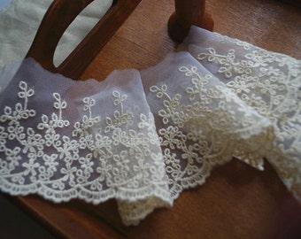 Japan cream lace trim, cotton embroidered lace trim, retro floral lace