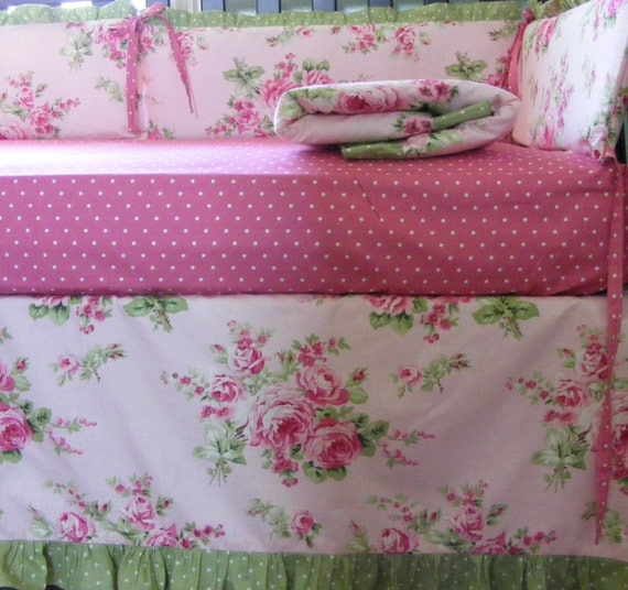 Pink And Green Baby Bedding Set Quilt Bumper And Skirt And