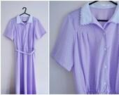 Purple Dress - 70s, polka dots, ice purple, pastel, white, lace trim collar, pin tucks, medium, US 6, UK 10