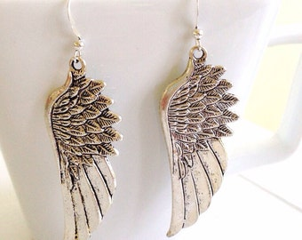 Angel Wing Earrings Silver Feather Earrings