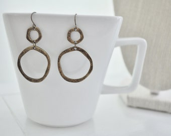Gold Hammered Earrings Circle Gold Earrings Antique Gold Geometric