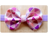 SN Bow Headband: Pink/Lilac triangle