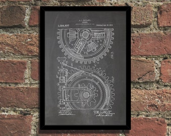 Gears Patent Print Steampunk Art Poster