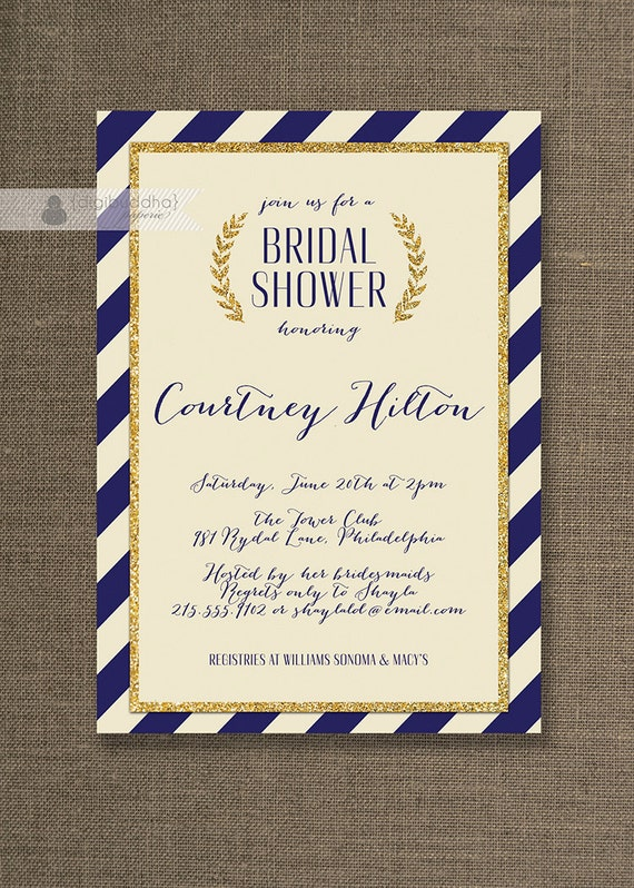Navy & Gold Bridal Shower Invitation Gold Glitter Ivory Stripes ...