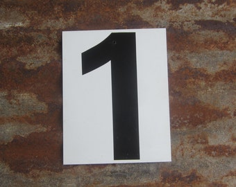 Vintage  Metal Number 2 Number 1 Two or One Sign Double Sided  White and Black Gas Station Price Sign Address or Lucky Number Display Sign