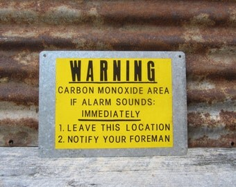Industrial Sign Metal Sign Black Yellow WARNING Carbon Monoxide Coal Mine Mining Sign Vintage Sign Application Mine Factory VTG Urban Decor