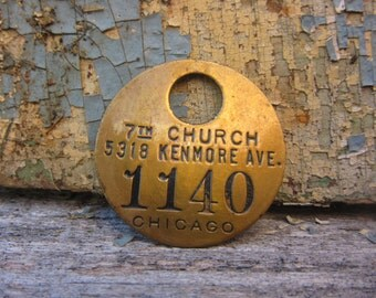 Vintage Brass Tag 7th Church Chicago vtg Number Tag Jewelry Charm Brass Number 1140 Industrial Tag Old VTG Tag Farm Industrial Tag Lucky Fob