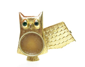 Avon Owl Brooch Vintage Gold Locket with Solid Cologne Charisma Perfume Glace, Green Rhinestone Eyes
